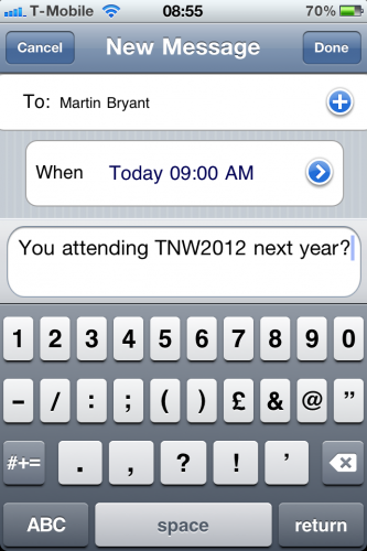 photo 1 333x500 Txtot for iPhone ensures youll never forget to send that important text message