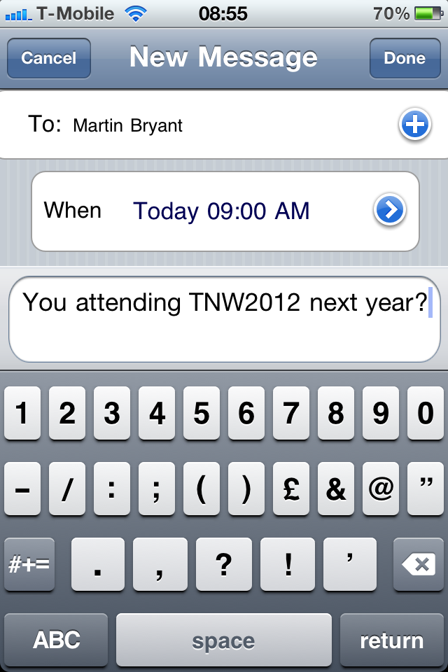 Txtot for iPhone ensures you'll never forget to send that important text message