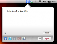 tnw 220x169 UpdateBar lets you post to Twitter and Facebook fan pages from your Mac