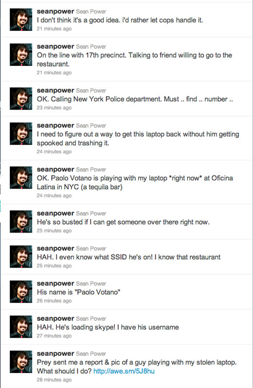 twitterstream Sean Power remotely figures out who and where his laptops thief is