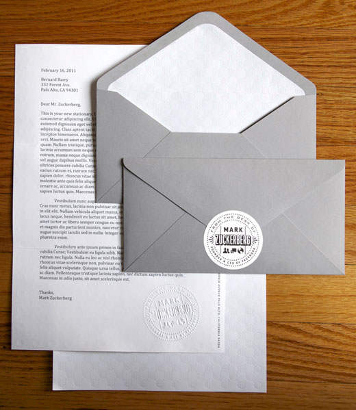 zuck stationary 1 Mark Zuckerberg has his own personalized stationery, designed in house. Weve got pictures.