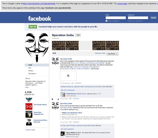 Anonymous Google Cache Anonymous Operation India removed from Facebook and Twitter