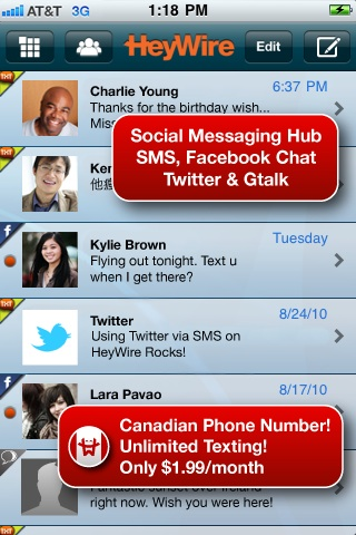 HeyWire Canada 2 HeyWire Canada is a solid iOS text messaging alternative