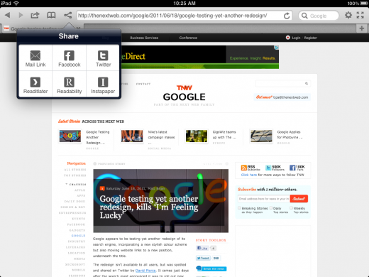 IMG 0001 520x390 Terra, the iPads best web browser, adds Twitter, Facebook & Instapaper support.