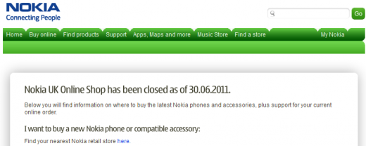 Nokia UK Online shop closed 1309414956739 520x208 Nokia closes online stores in UK and US