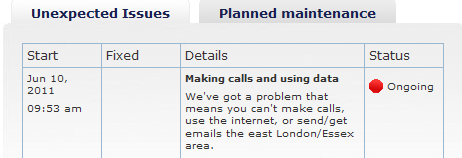 O2 Service Status 1307701272088 O2 network down again in London