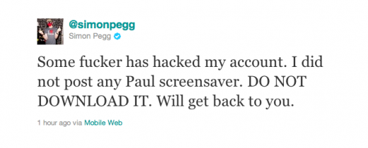 Picture 482 520x210 Actor Simon Pegg claims Twitter account hacked. Spreads malware to 1.2 million followers.