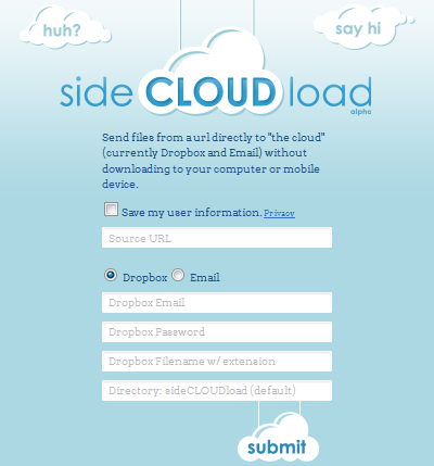 SCL Save files from the Web to Dropbox with just their URLs, using SideCLOUDload