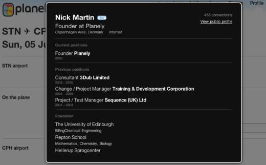 Screen shot 2011 06 01 at 14.45.30 520x322 Planely taps LinkedIn for even easier in flight networking