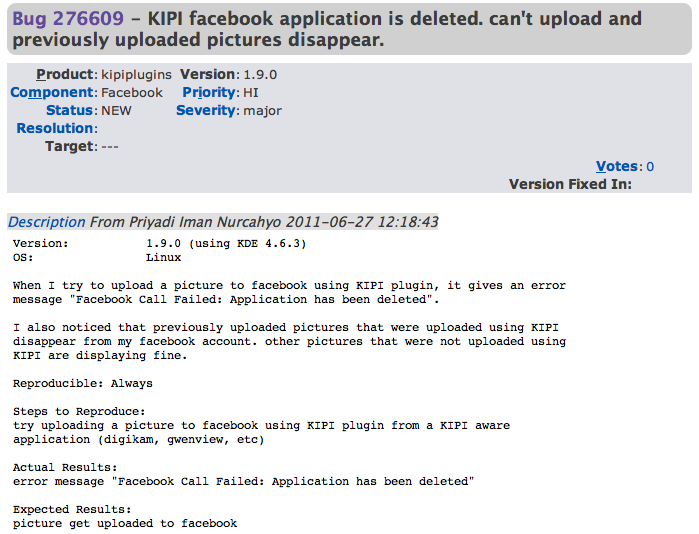 Facebook bans KDE application without warning, deletes user photos