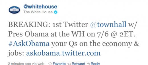 Screen shot 2011 06 30 at 11.03.28 AM 520x230 The White House and Obama to hold the first Twitter Townhall