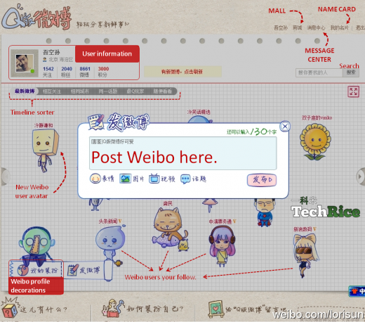 TechRice Sina Weibo Q 520x458 New Sina Weibo profiles leak reveals virtual goods, eCommerce integration