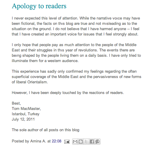 apology Hoax Gay Girl in Damascus sparks fury in the Middle East