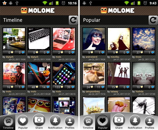 molome5 Molome gives users a taste of Instagram on their Android smartphone