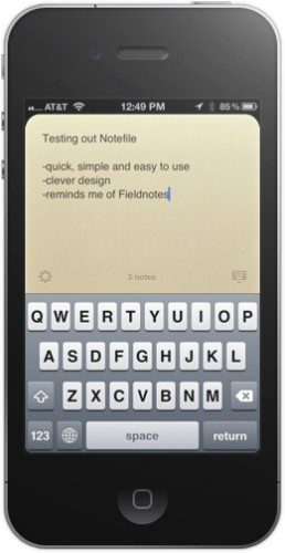 notefile 258x500 Notefile is a wonderfully purist notebook for iOS and Mac