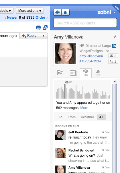 relationship Xobnis Gmail context plugin gets smarter and smaller