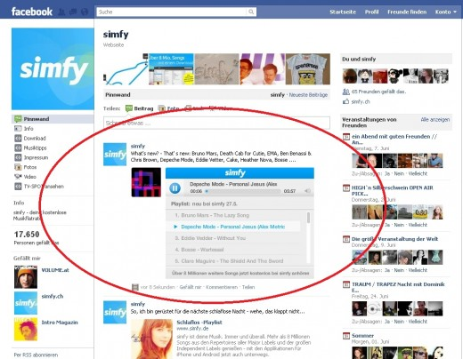 screenshot simfy FB PLAYER 520x404 German Spotify clone Simfy gets Facebook integration... before Spotify