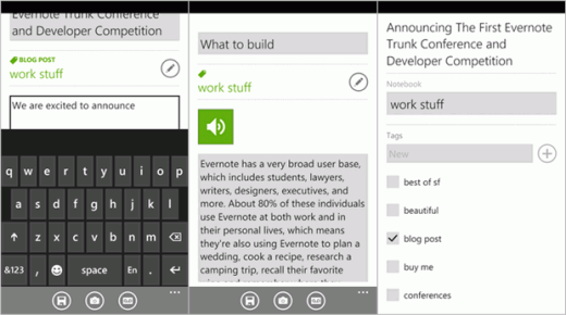 winphone newnote 520x290 Evernote Arrives for Windows Phone 7