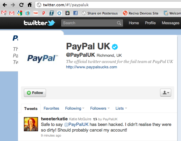 PayPal UK Twitter account hacked [Updated]