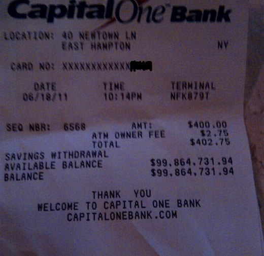 100mil Show me the money! Check out this ATM receipt with a $100 MILLION available balance.