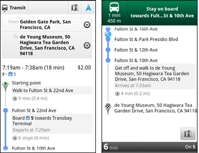 App Google Maps 5.7 launches for Android, Transit Navigation brought on board
