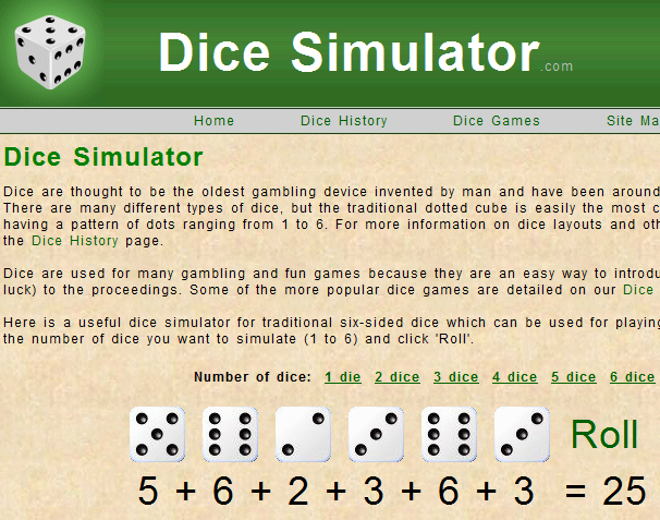 Dice Simulator Random Dice Dice History 1311791110864 10 websites that will make you say... Huh?