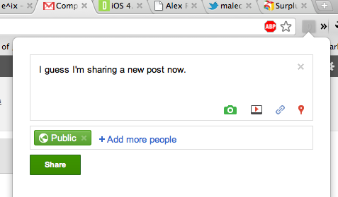 Ext11 This Google+ Chrome extension lets you read, comment AND share from anywhere on the Web