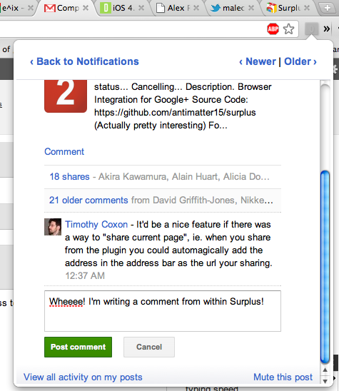 Ext2 This Google+ Chrome extension lets you read, comment AND share from anywhere on the Web