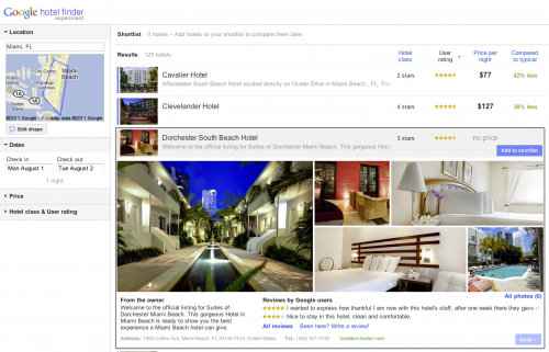 HF3 500x321 Google launches Hotel Finder, a new experimental search tool