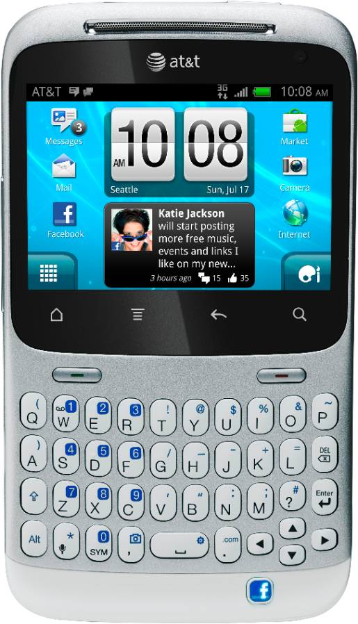 HTC Chacha Homescreen StrVrtClsdSil 201107111056204 2 AT&T now selling the HTC Status: The 1st phone with a Facebook share button