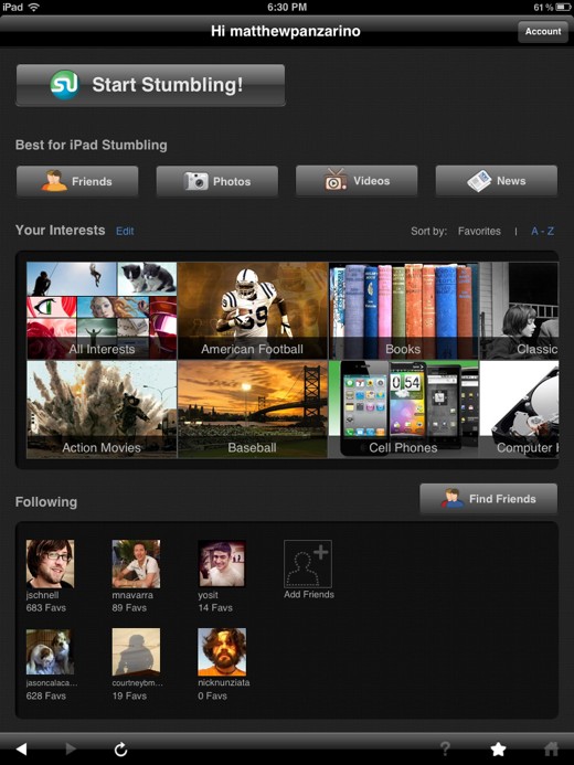 The iPad was made for StumbleUpon, now it has the app to prove it