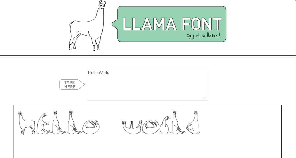 Llama Font 10 websites that will make you say... Huh?