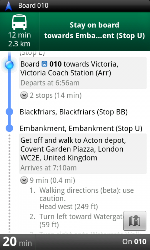 London Transit Navigation 300x500 Google Maps now gives public transport directions in London