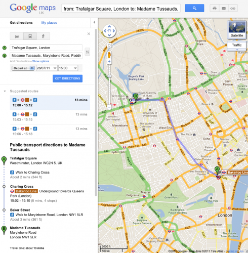 London Transit Query 490x500 Google Maps now gives public transport directions in London