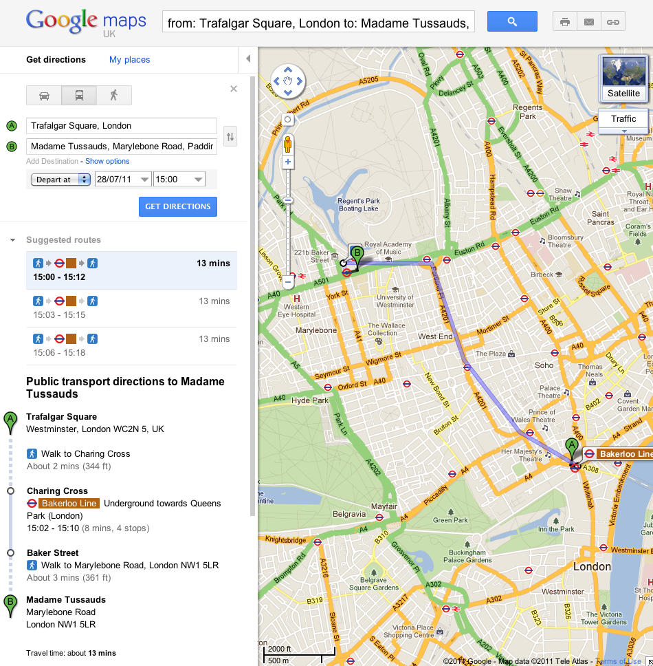 Google London Map.Google Maps Now Gives Public Transport Directions In London Tnw Uk
