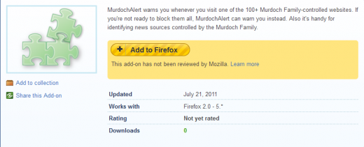Murdoch Alert Add ons for Firefox 13113412074121 520x211 Murdoch Alert: The browser extension that warns you of News Corporation websites