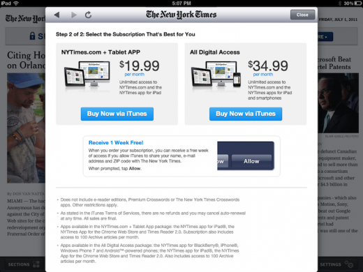NY4 520x390 NYT gives Apple its 30% and adds in app subscriptions to iPad app