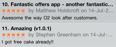Picture 17 O2s new app receives high praise in the App Store...from O2 staff