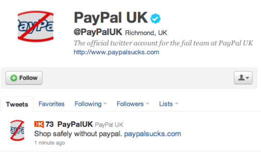 Picture 980 520x303 PayPal UK Twitter account hacked [Updated]