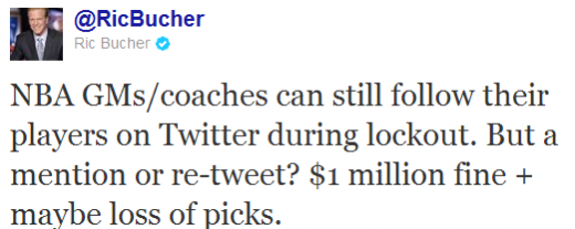 RicBucher 520x207 NBA coaches face $1m fine for retweeting their players during lockout