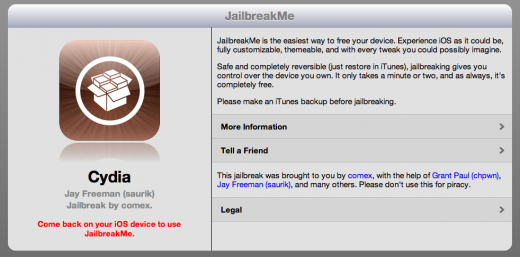 Screen Shot 2011 07 06 at 07.30.32 520x257 JailbreakMe 3.0 launches; Browser based Jailbreaks for iPad 2, iPhone and iPod