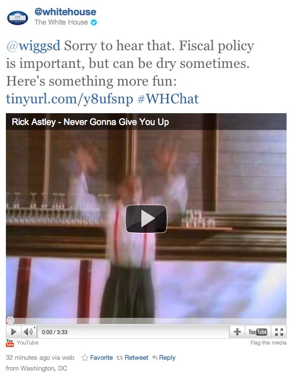 Screen Shot 2011 07 27 at 2.22.57 PM The White House just Rickrolled a Twitter user