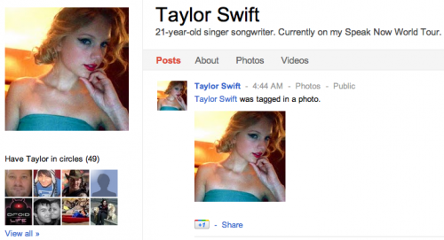 Screen shot 2011 07 01 at 09.39.59 500x271 Celebrities take to Google+. Have you found any?