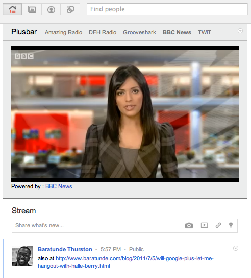 Screen shot 2011 07 05 at 18.00.32 Plusbar adds a streaming media player to Google+