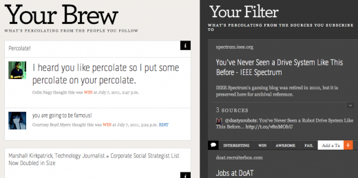 Screen shot 2011 07 07 at 4.25.01 PM 520x259 Percolate is brewing: Your filtered news with a shot of microblogging