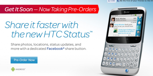 Screen shot 2011 07 11 at 4.00.38 PM 520x260 AT&T now selling the HTC Status: The 1st phone with a Facebook share button