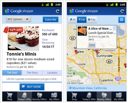 Screen shot 2011 07 12 at 11.13.50 Google rolls out Offers to New York and San Francisco, updates Shopper Android app