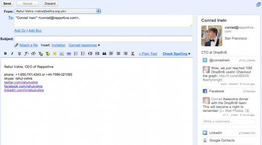 Screen shot 2011 07 15 at 12.50.00 520x289 Gmail plugin Rapportive now gives you insight into the people youre emailing