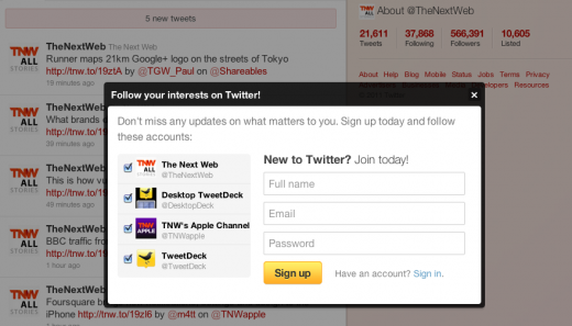 Screen shot 2011 07 15 at 16.09.56 520x297 Twitter gets more proactive about signing up logged out users