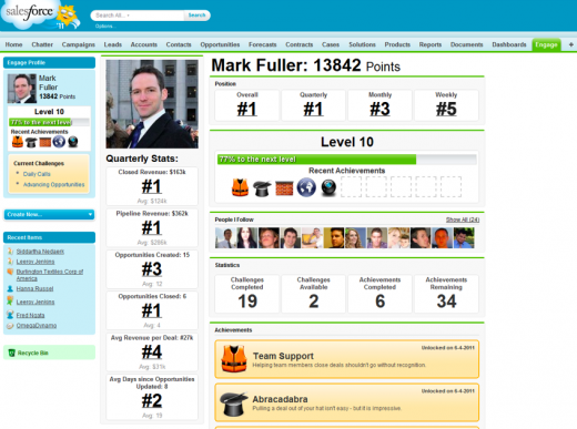 Screen shot 2011 07 18 at 09.22.26 520x387 Achievements, points and leaderboards hit the workplace with Engage for Salesforce.com